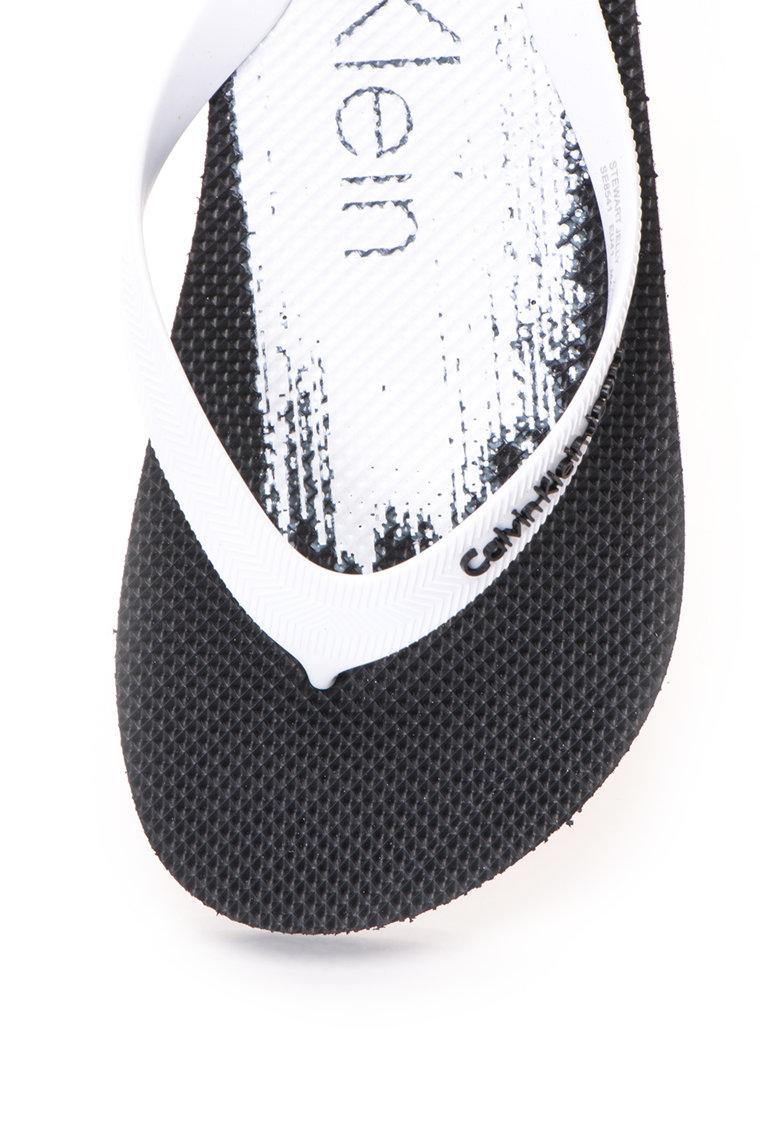 Calvin Klein Jeans Papuci flip-flop alb cu negru Stewart