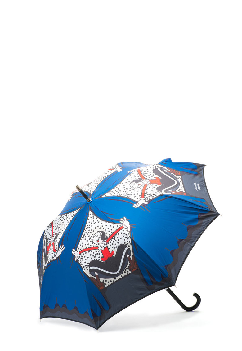 Umbrela albastru cobalt cu negru de la Moschino