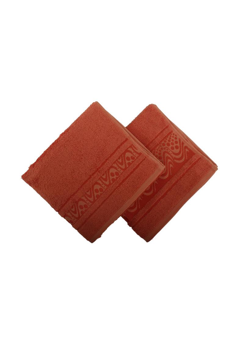 Leunelle Set de prosoape rosu caramiziu pentru maini – 2 piese