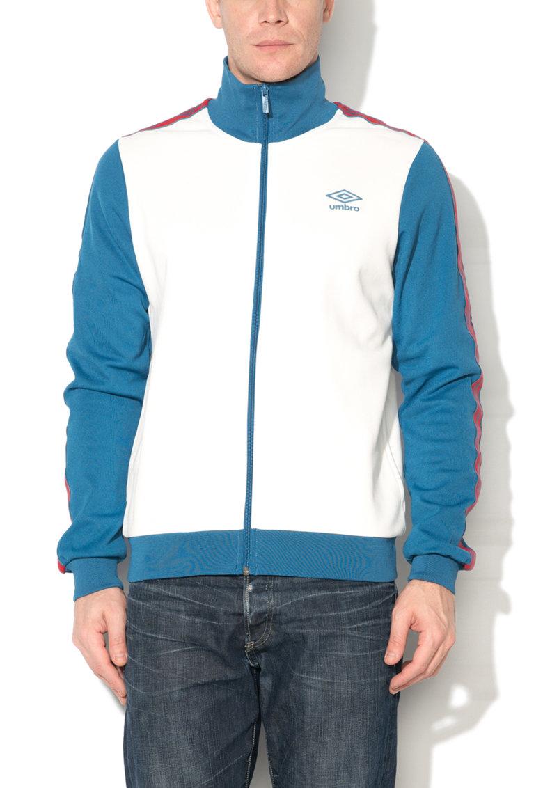 Bluza sport cu fermoar alb cu albastru de la Umbro