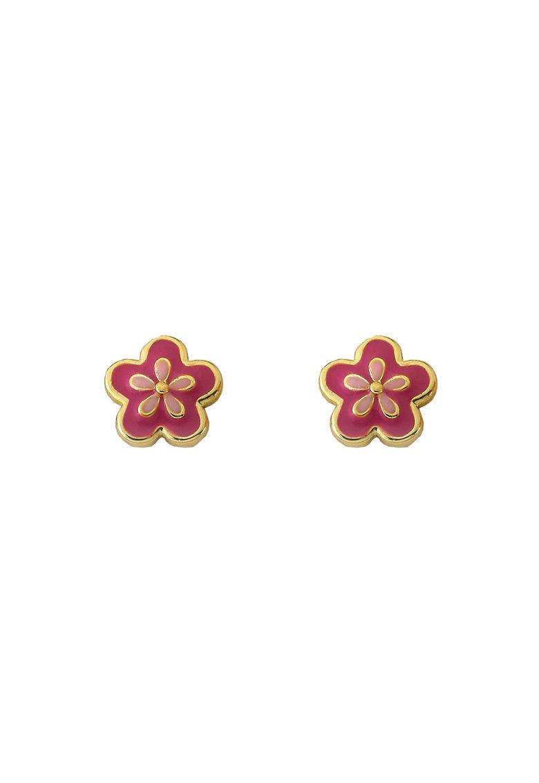 Cercei cu tija roz aprins cu roz in forma de floare de la LMTS