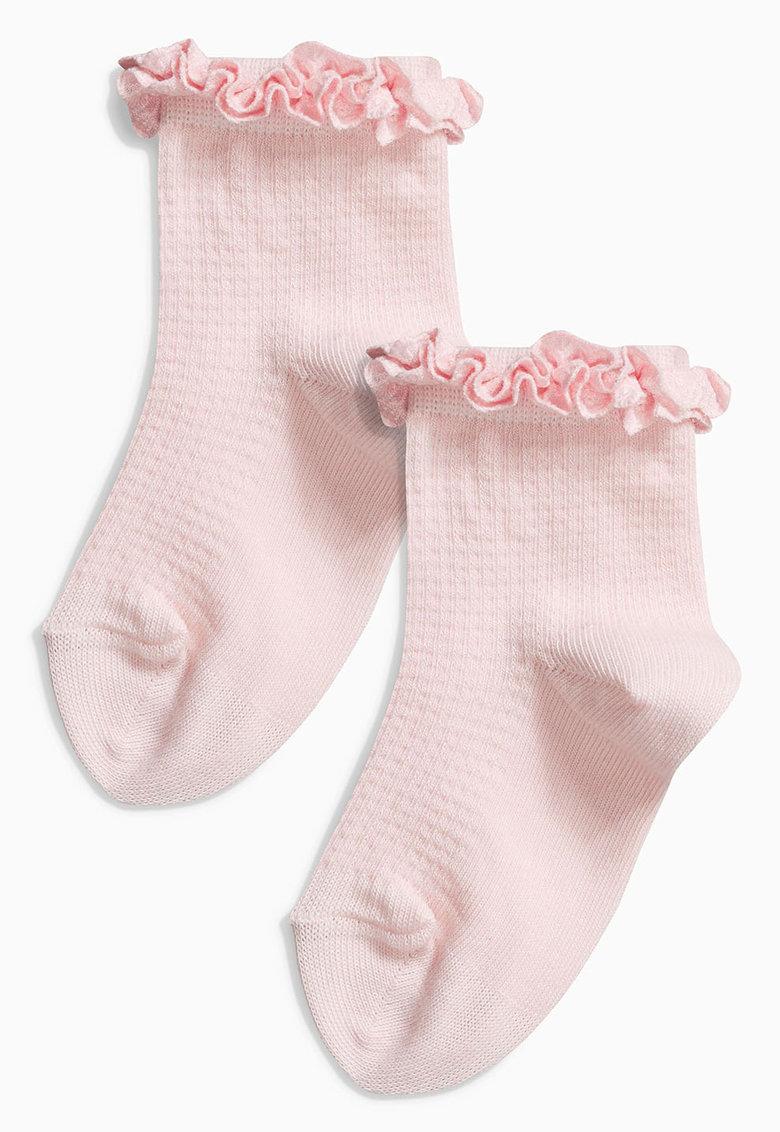 Set de sosete roz cu volane - 2 perechi