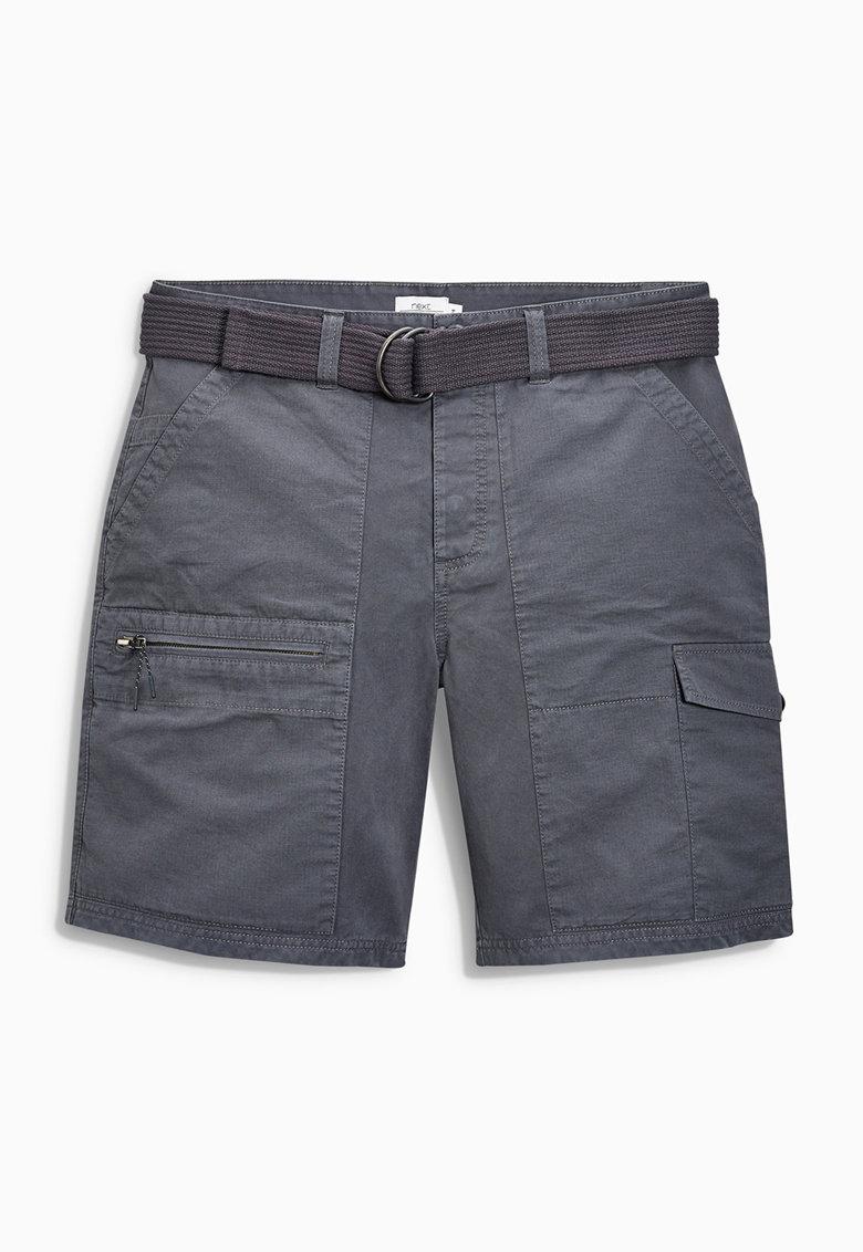 Pantaloni scurti cargo gri carbune cu o curea