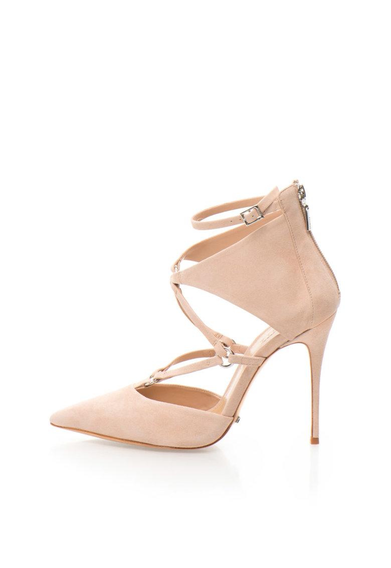 Pantofi roz prafuit de piele intoarsa cu bareta pe glezna