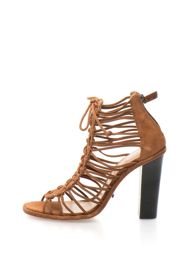 Sandale maro coniac de piele intoarsa cu barete multiple