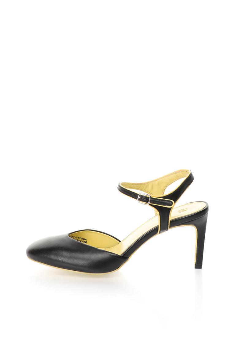 Pantofi negri de piele cu varf rotund