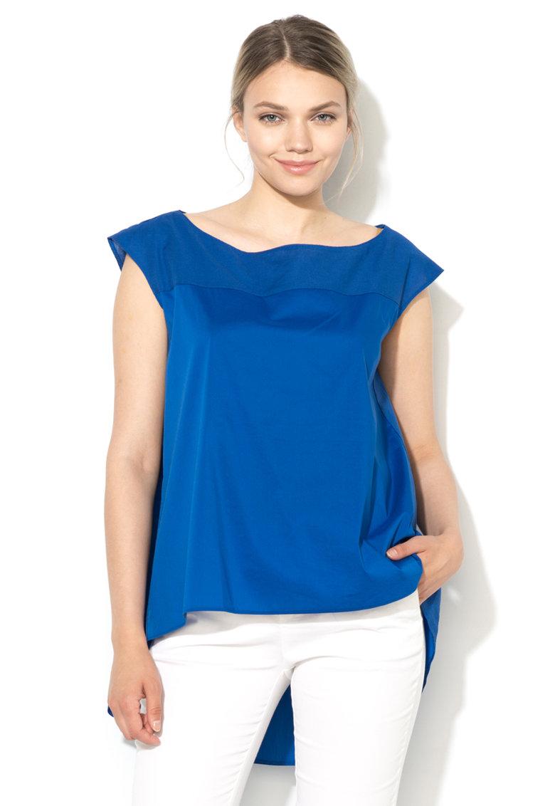Bluza lejera asimetrica albastru safir