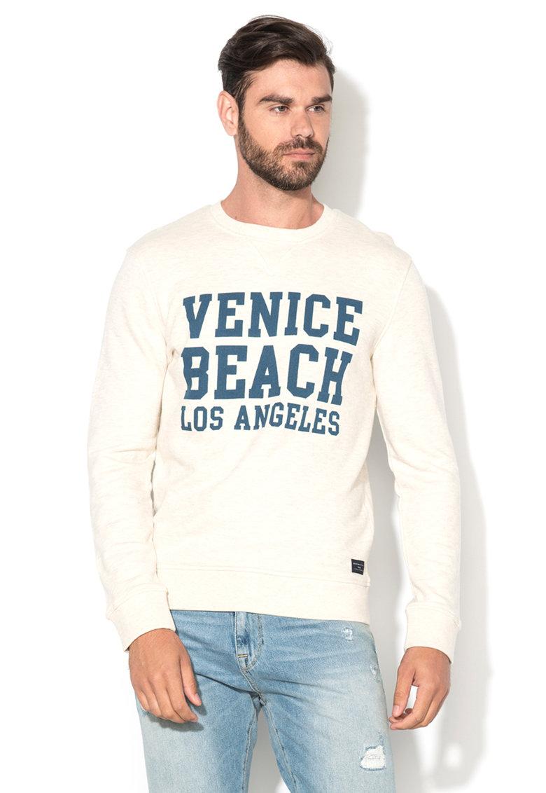 Bluza sport alb unt melange cu text Hammel de la Selected Homme