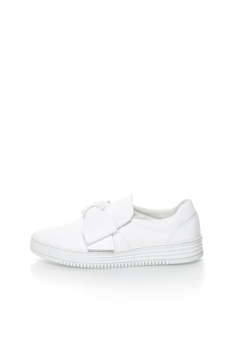 Bullboxer Pantofi sport alip-on albi de piele cu funda