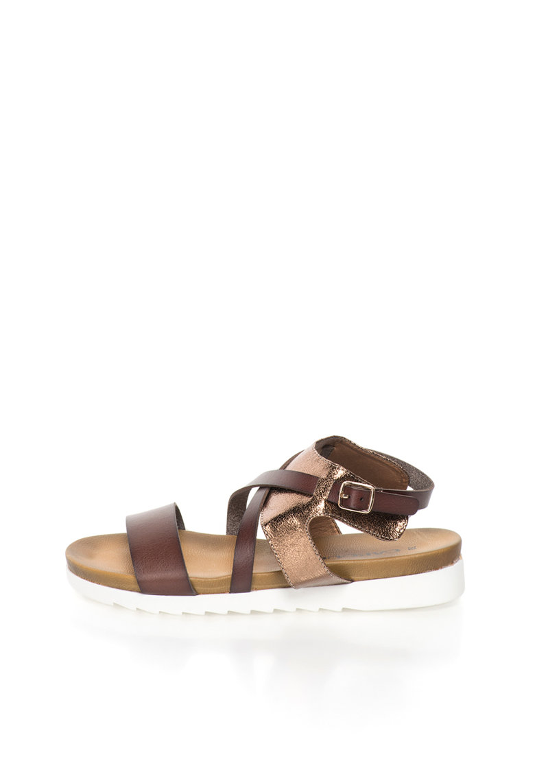 Sandale maro bronz si maro inchis cu barete multiple de la Oakoui