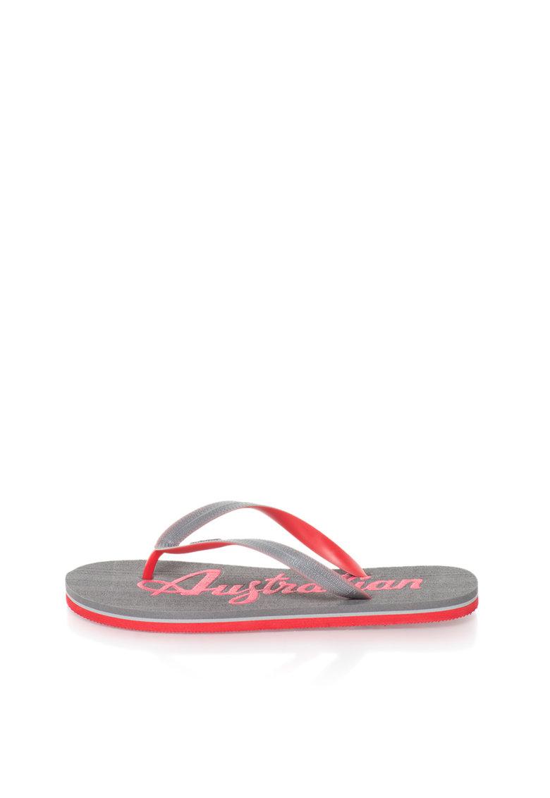 Australian Papuci flip-flop rosu si gri cu logo