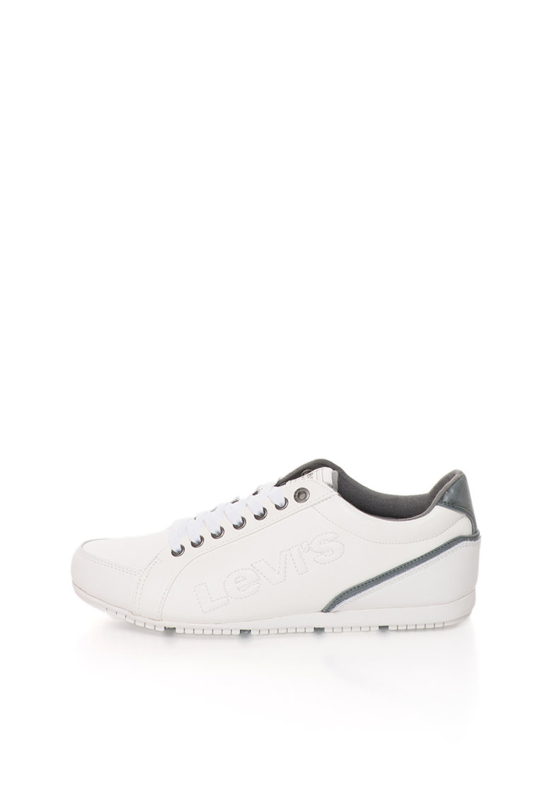 Pantofi sport alb si gri inchis cu logo in relief