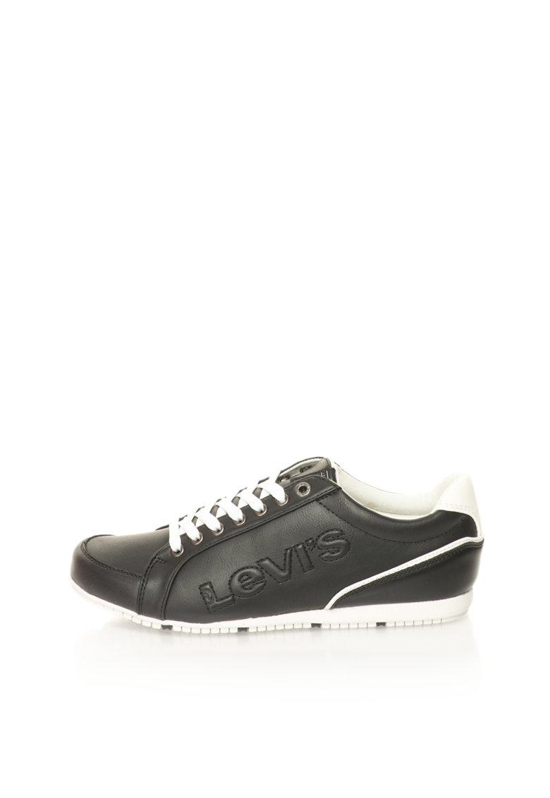 Levis Pantofi sport negru cu alb si logo in relief