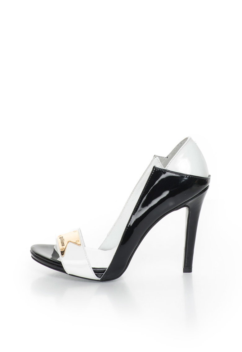 Pantofi stiletto negru si alb de piele lacuita