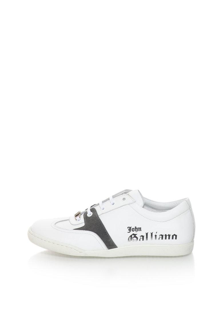 John Galliano Pantofi sport alb cu gri inchis de piele