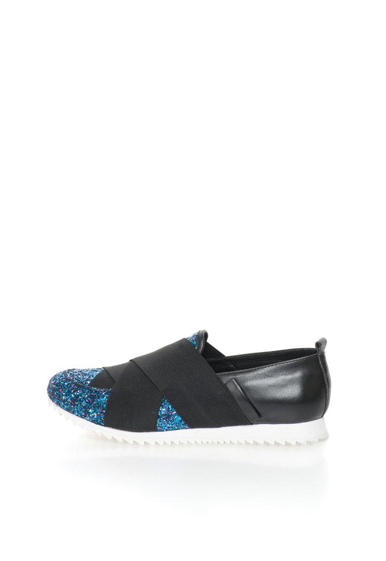John Galliano Pantofi slip-on negri de piele cu particule stralucitoare