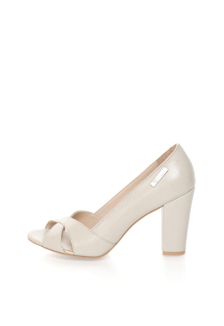 Pantofi grej de piele cu toc masiv si varf decupat de la John Galliano