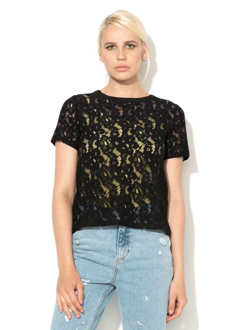 New Look Bluza neagra de dantela cu snur pe partea din spate