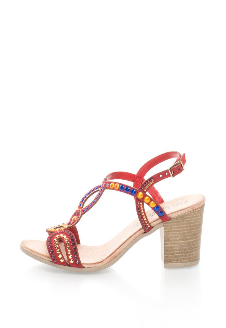 Zee Lane Collection Sandale de piele intoarsa cu tinte si toc masiv