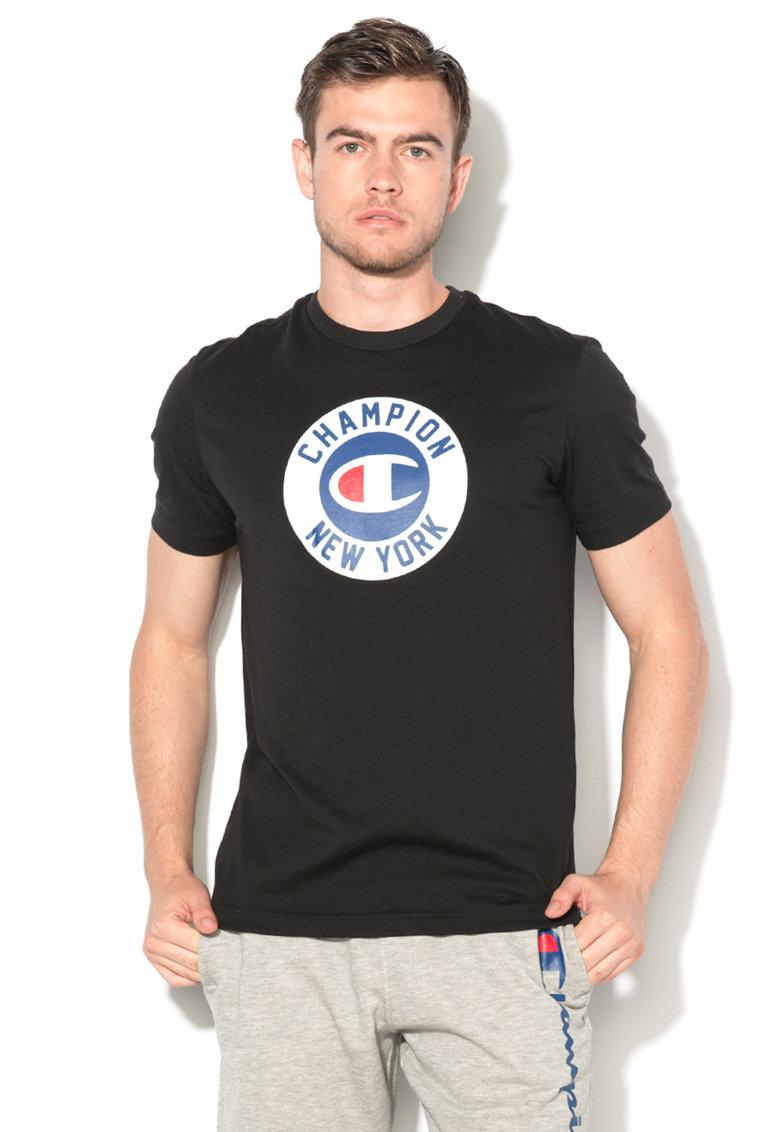 Champion Tricou easy fit negru cu logo
