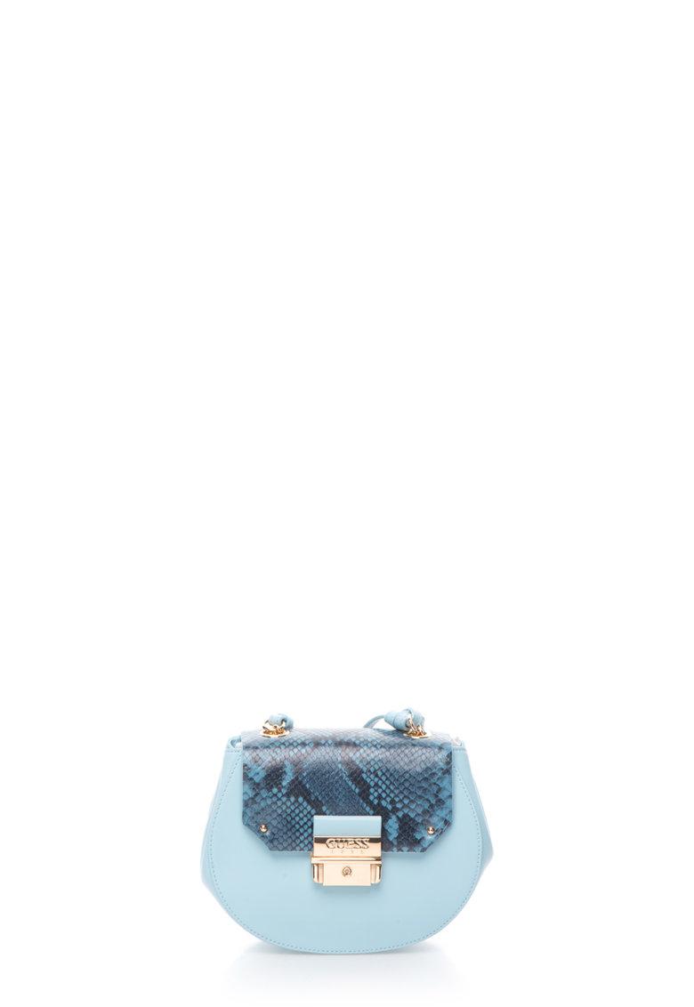 GUESS Geanta saddle albastru azur de piele
