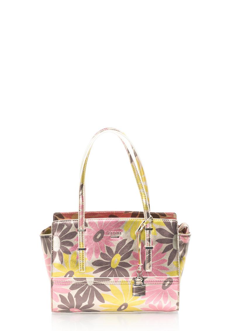 GUESS Geanta multicolora cu model floral
