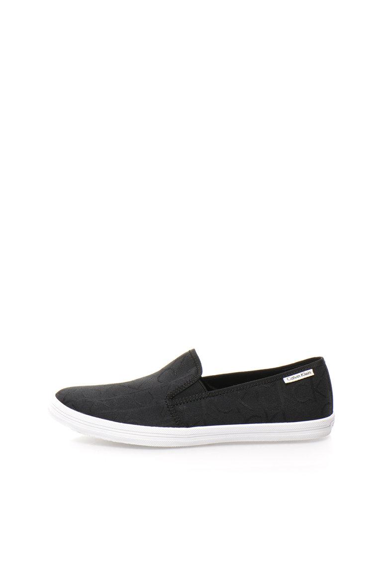 Calvin Klein Pantofi slip-on negri cu model logo