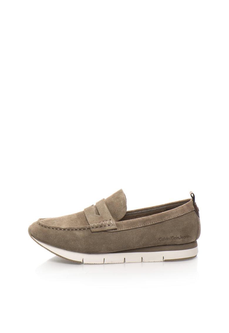 Calvin Klein Jeans Pantofi loafer maro taupe de piele intoarsa Haben