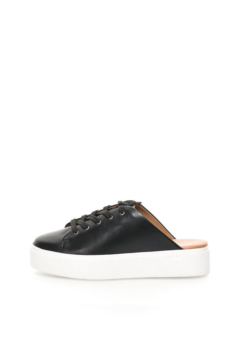 Calvin Klein Pantofi sport flatform negri de piele cu spate decupat Jaleh