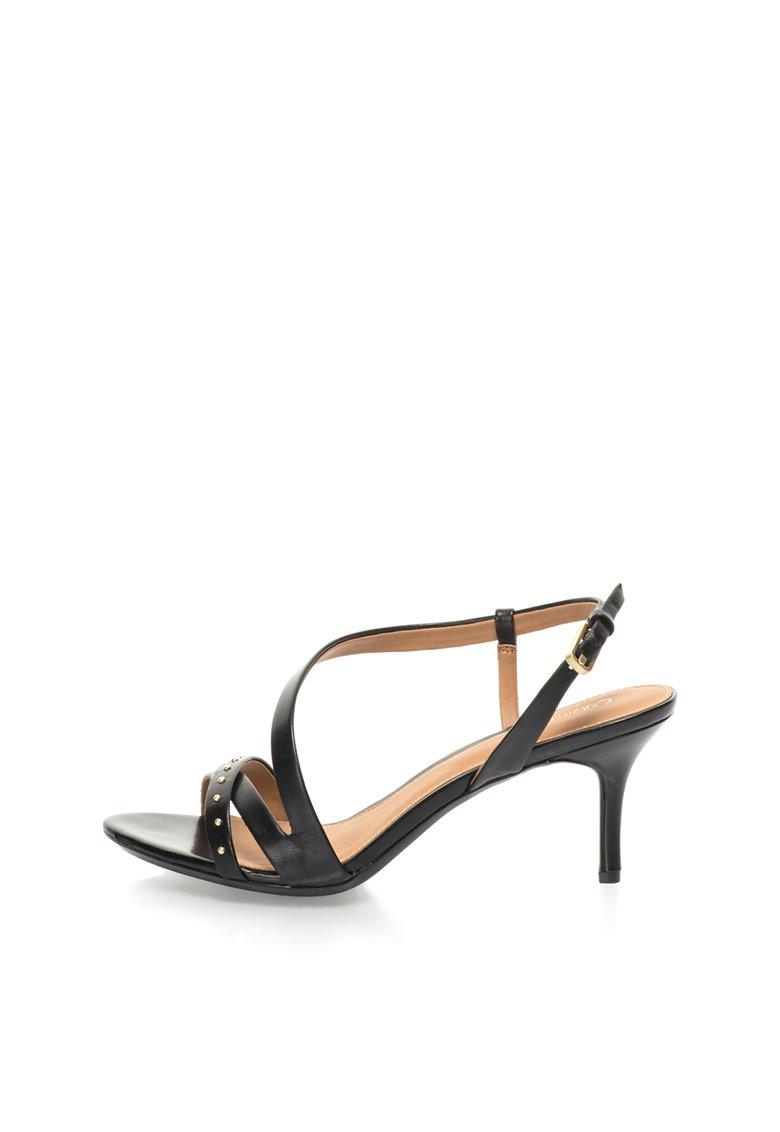 Calvin Klein Sandale negre de piele Lorelai