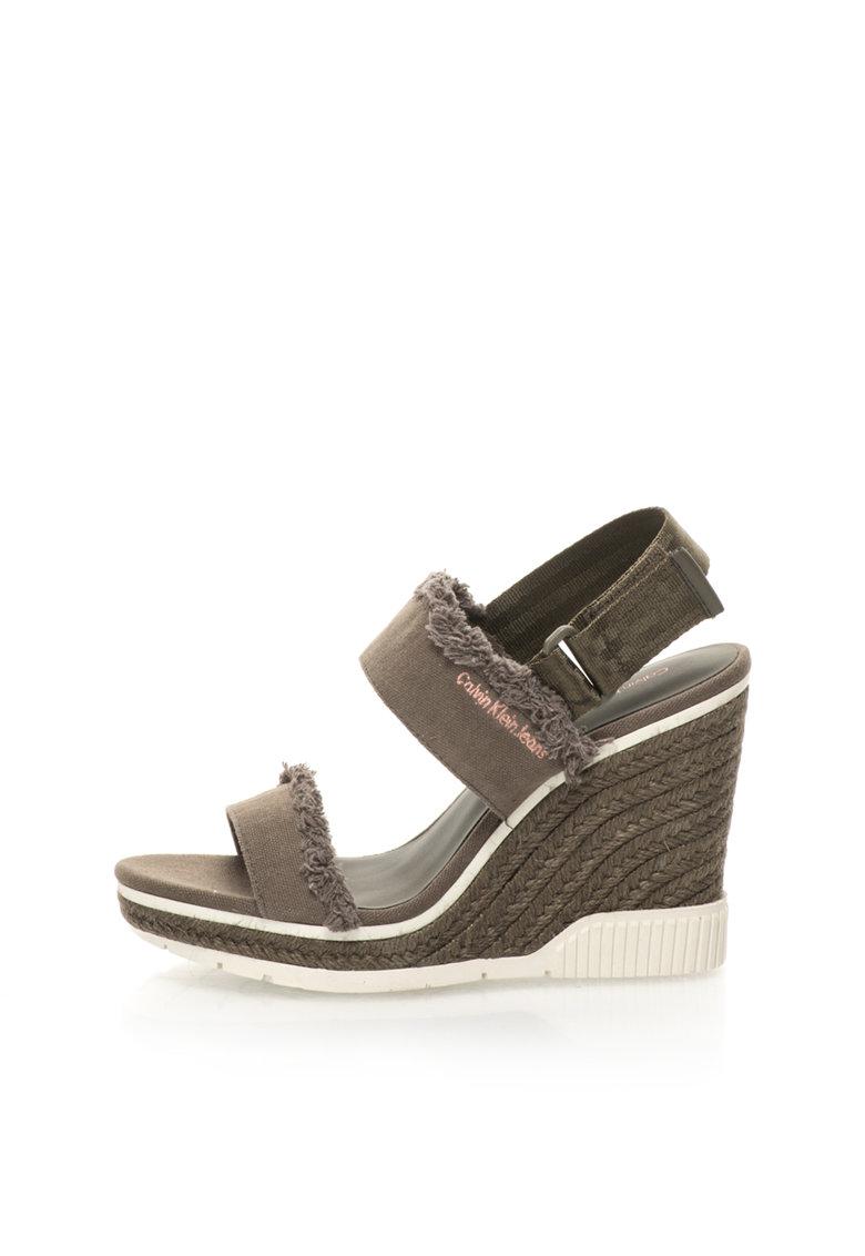 Calvin Klein Jeans Sandale wedge tip espadrile verde militar Lael