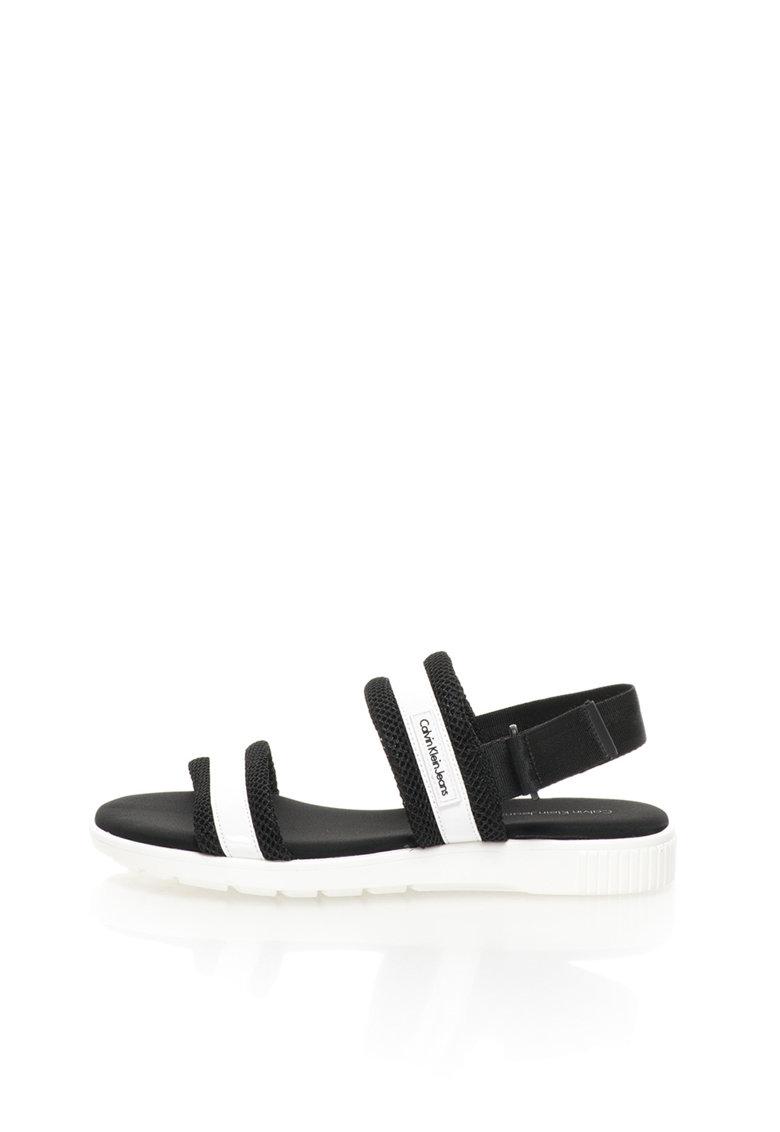 Sandale slingback negru cu alb Magic