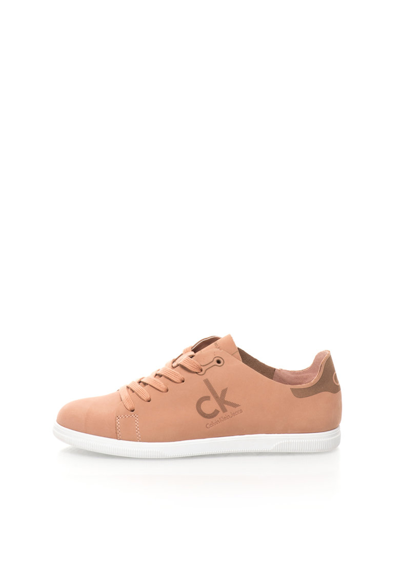 Calvin Klein Jeans Pantofi sport roz prafuit de piele nabuc Sailor