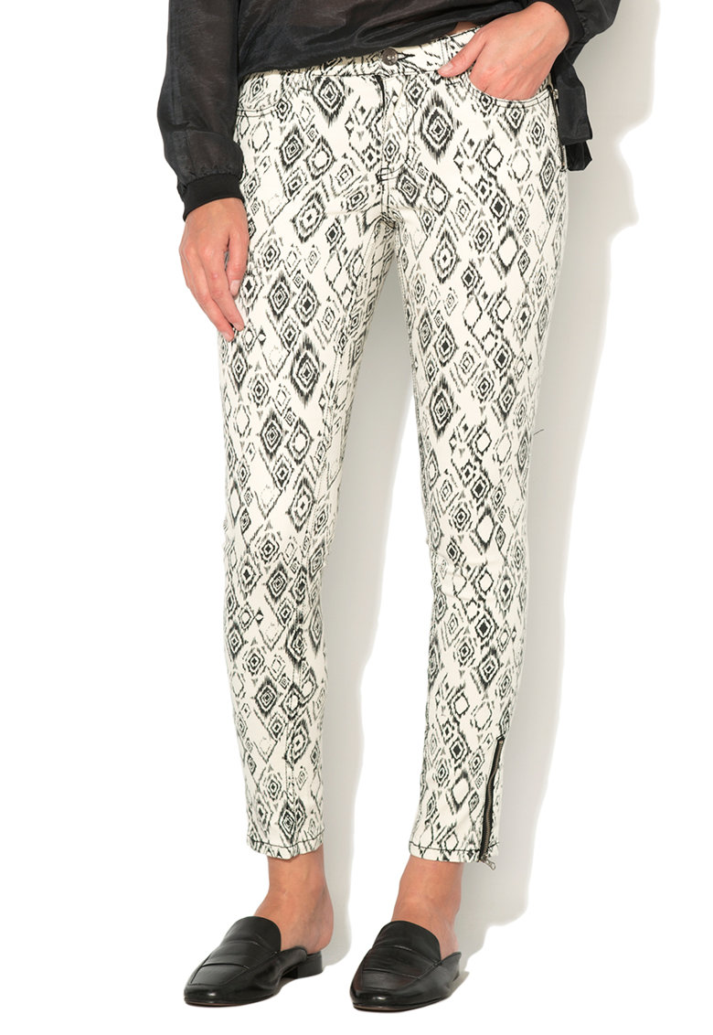 Big Star Pantaloni capri negru cu alb comfort fit Miley
