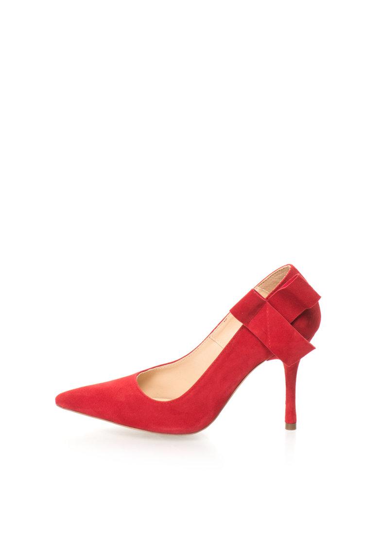 Mihaela Glavan Pantofi stiletto rosii de piele intoarsa cu funda deconstruita