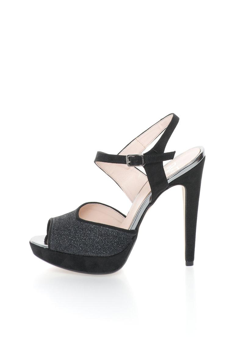 Versace 1969 Abbigliamento Sportivo Sandale negre cu toc inalt si platforma Calixte