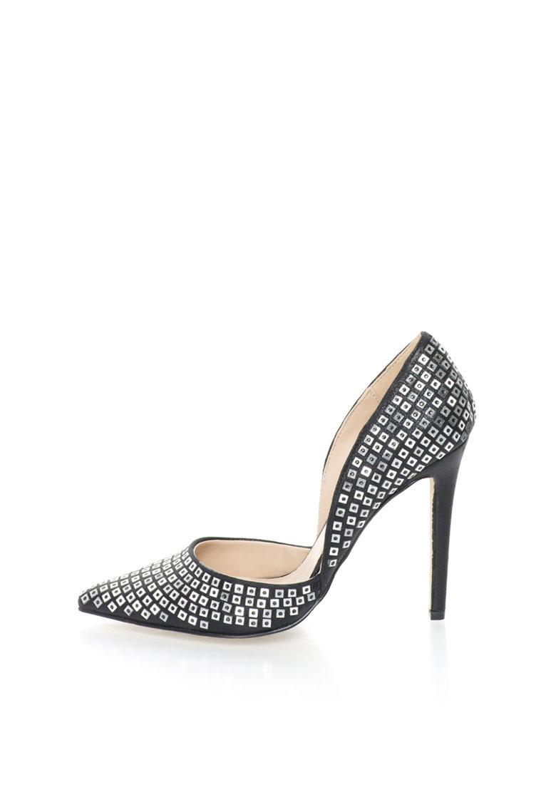 Versace 1969 Abbigliamento Sportivo Pantofi d'Orsay negri cu decoratiuni argintii Yolande
