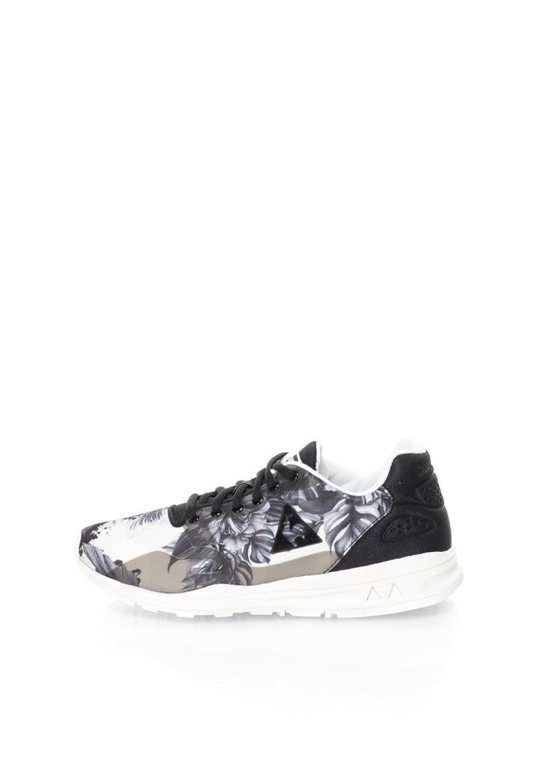 Le Coq Sportif Pantofi sport negru si nuante de gri cu model floral R9XX