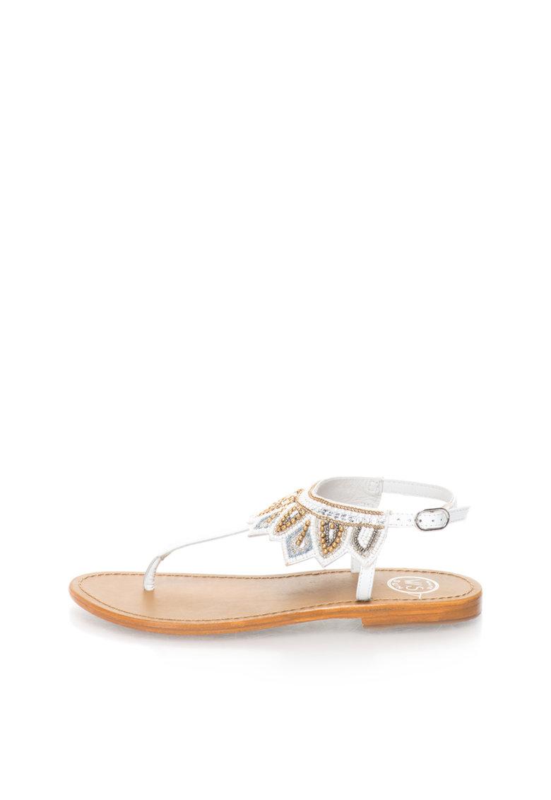 WHITE SUN Sandale alb prafuit cu bareta separatoare si decoratiuni