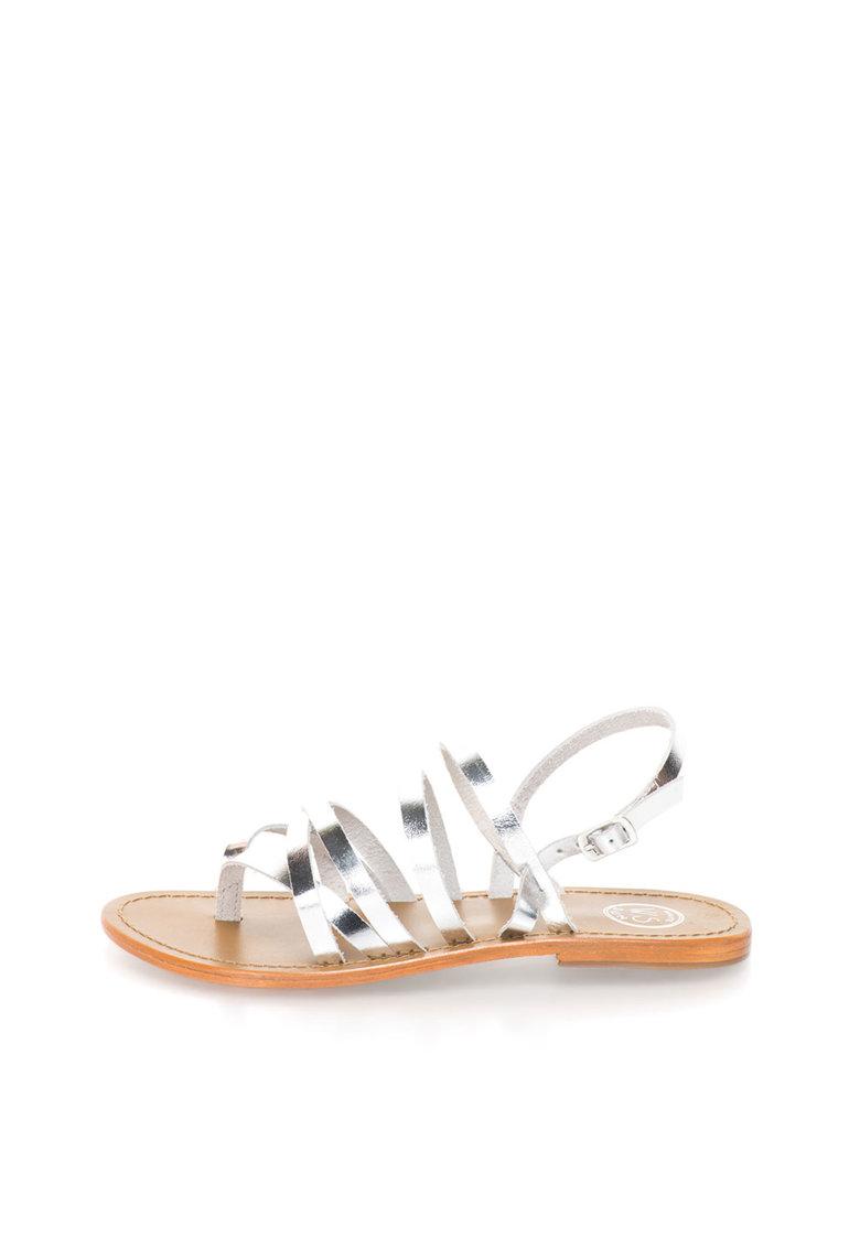 WHITE SUN Sandale argintii de piele cu barete multiple