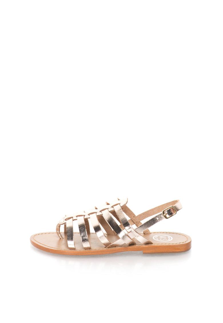 WHITE SUN Sandale aurii de piele cu barete multiple