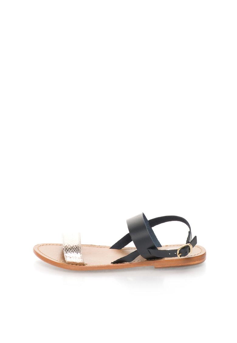 Sandale negru cu auriu de piele