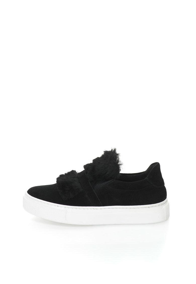 Bronx Pantofi slip-on flatform de piele intoarsa si blana sintetica