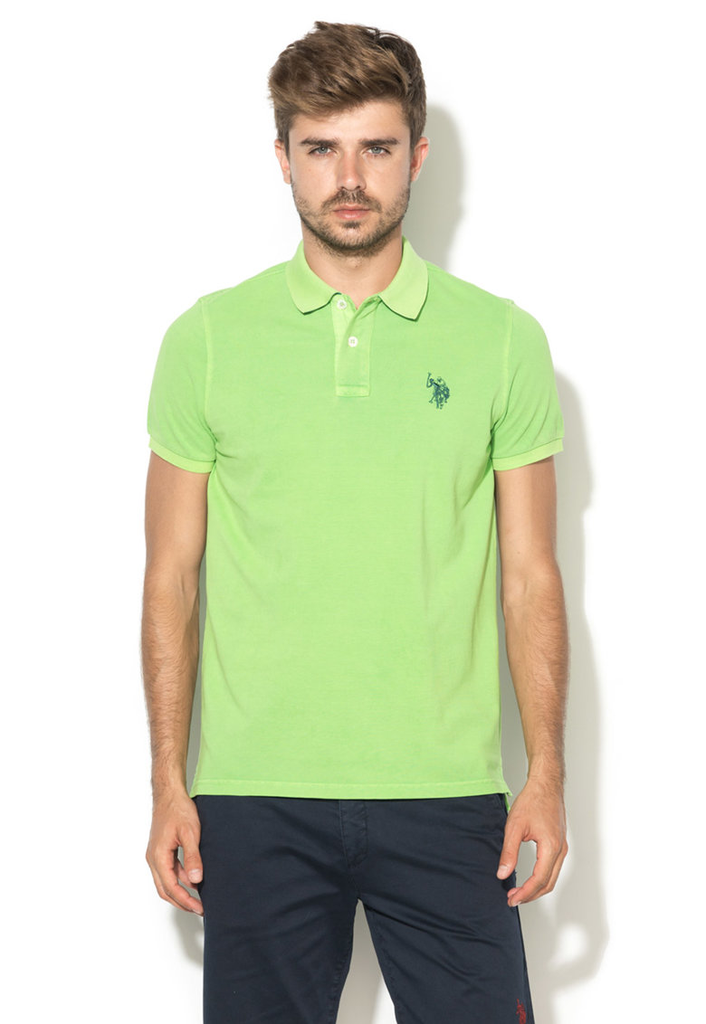 US Polo Assn Tricou polo verde neon Player