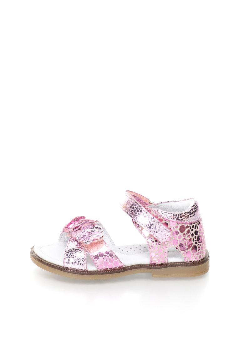 Sandale de piele cu aspect metalizat si aplicatii