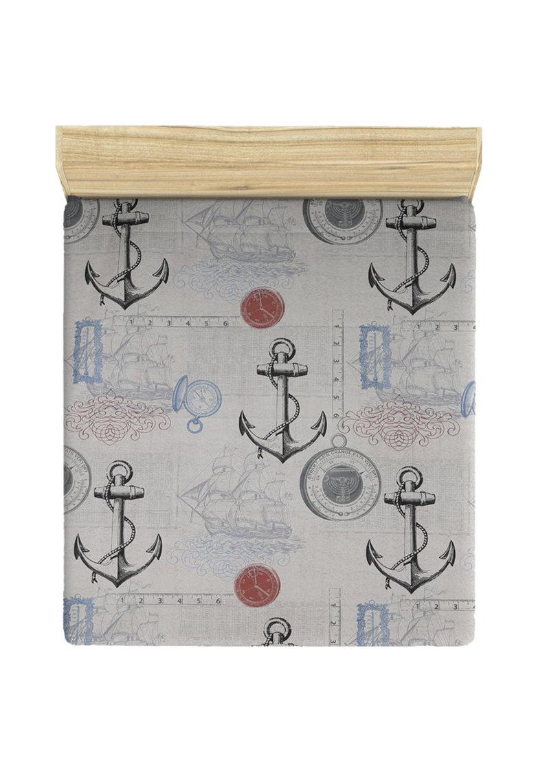 Leunelle Cearsaf cu elastic si imprimeu tematic Ahoy