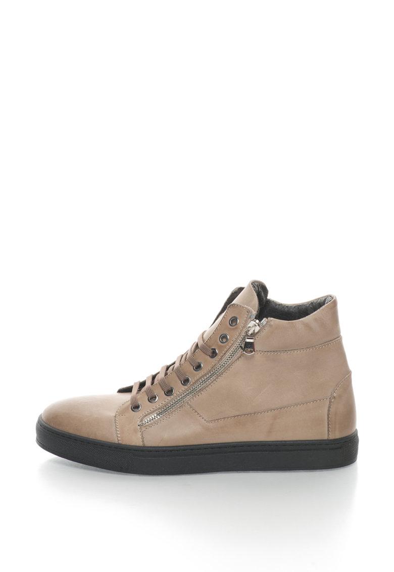 Pantofi sport inalti de piele cu fermoare laterale