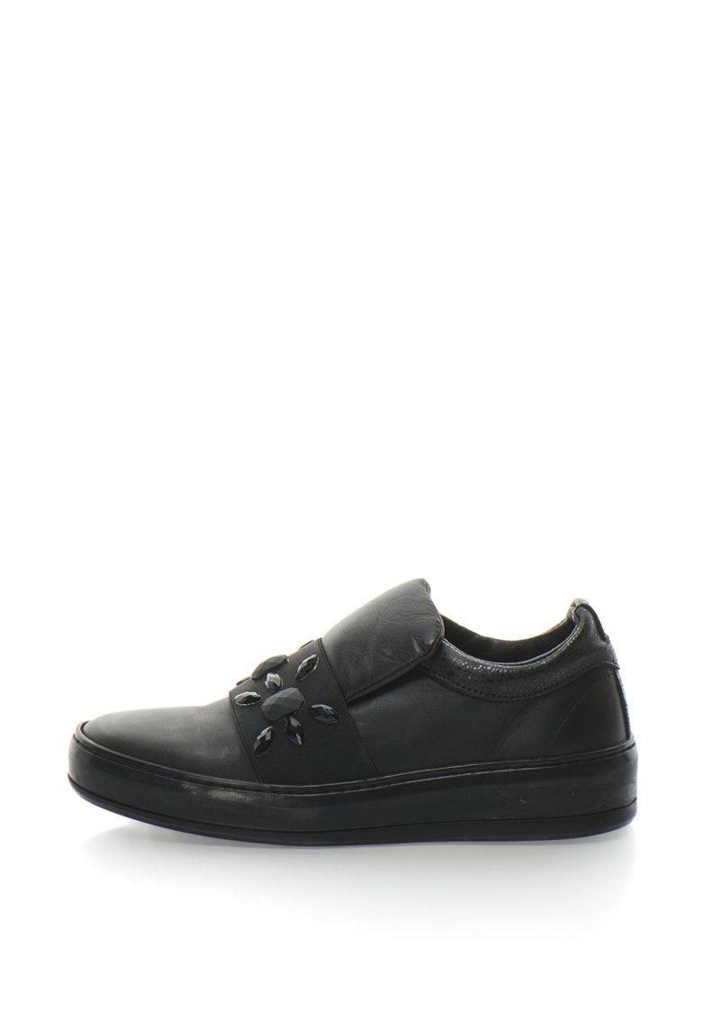 Bronx Pantofi slip-on de piele cu strasuri