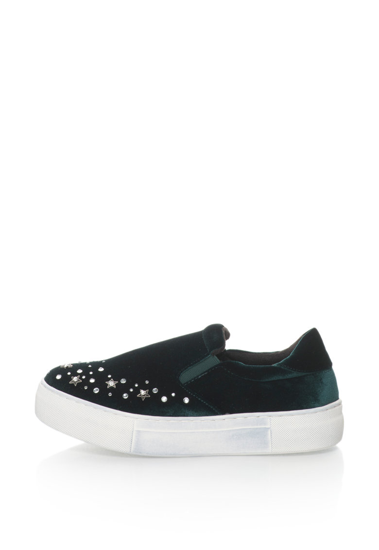 Pantofi slip-on flatform catifelti cu strasuri Eva
