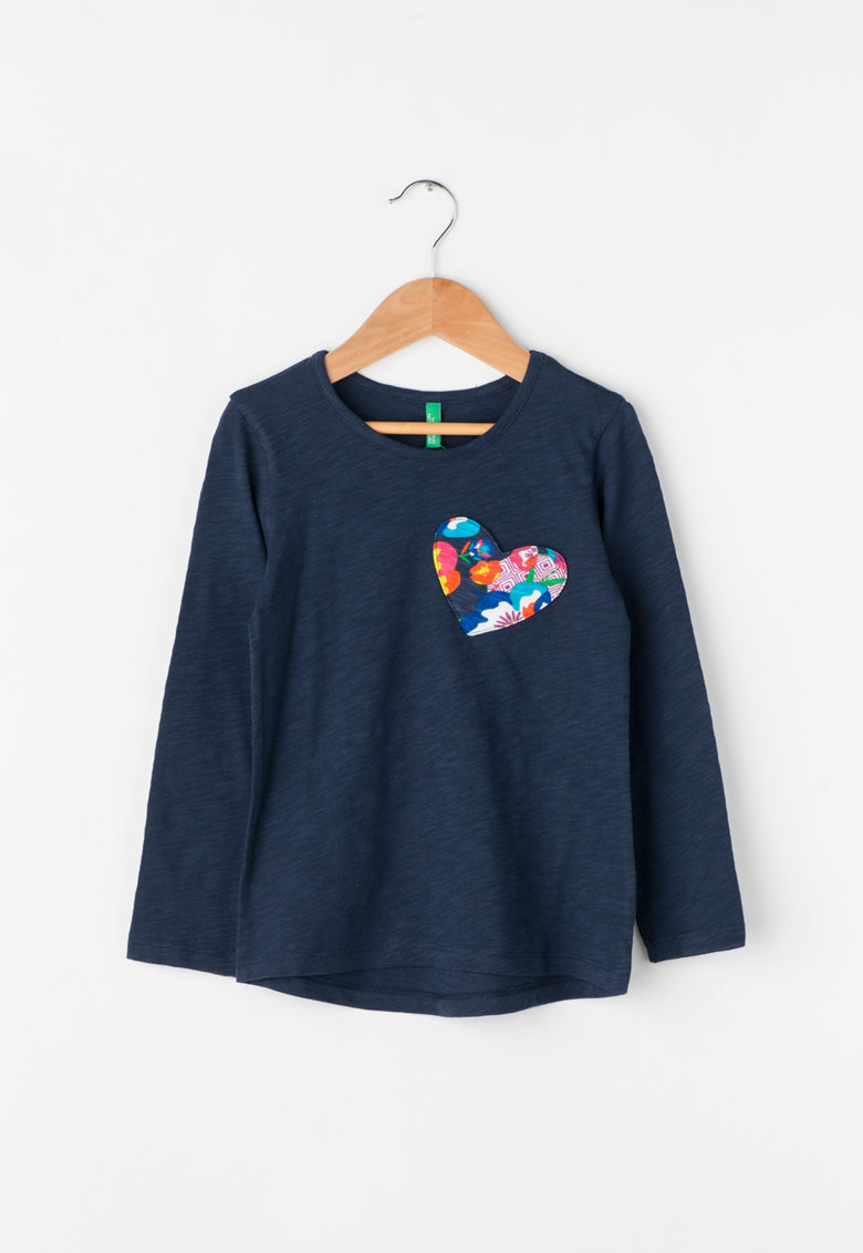 United Colors Of Benetton Bluza cu maneci lungi si buzunar in forma de inima